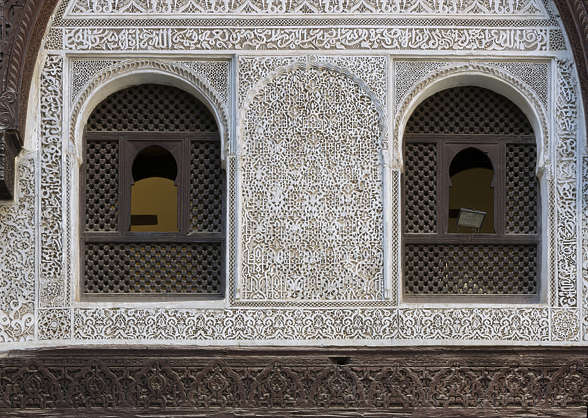 morocco moorish stucco windows window arch temple location:medersa-meknes
