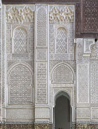 morocco moorish facade stucco arch windows temple location:medersa-meknes