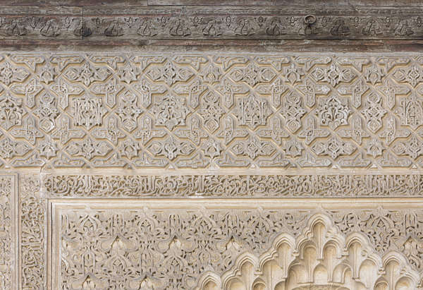 morocco location:medersa-bounana moorish stucco border ornament ornate