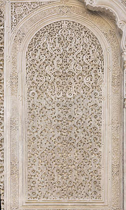 morocco location:medersa-bounana moorish stucco ornament ornate arch