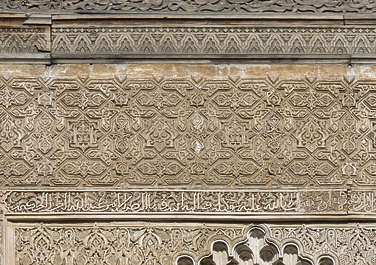 morocco location:medersa-bounana moorish stucco ornate border ornament