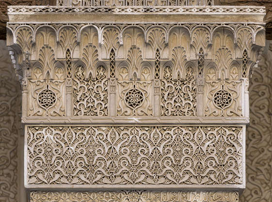 morocco location:medersa-marrrakesh moorish ornate ornament stucco column pillar