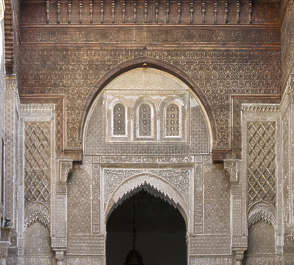 morocco location:medersa-marrrakesh moorish facade building temple mosque ornate ornament arch arches