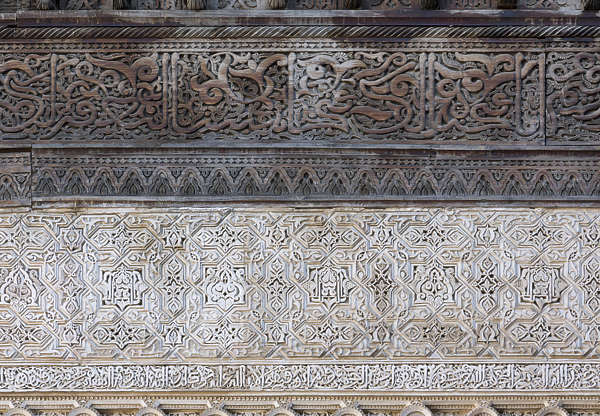 morocco location:medersa-bounana moorish stucco ornate wood carved carving border