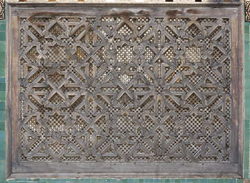 morocco location:medersa-bounana moorish wood fence ornate ornament