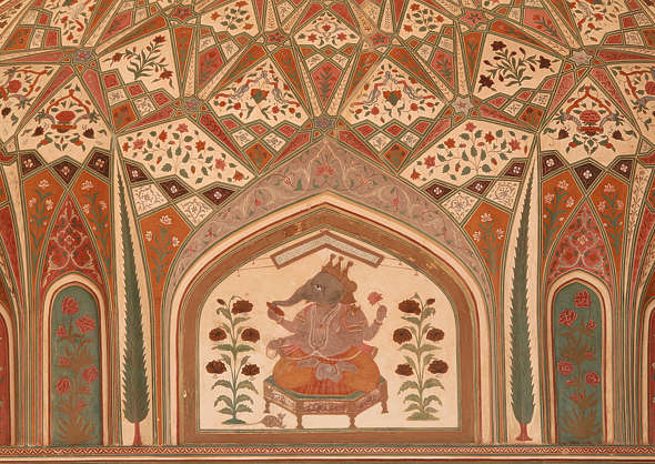 india ornament mural painting