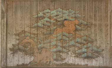 wood planks ornament ornate painting mural japan tree temple shrine background