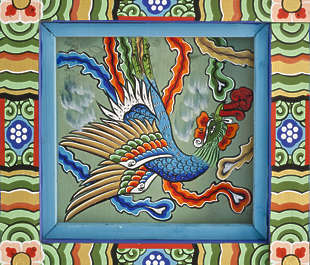 south korea ornament temple ornate mural painting asian asia bird panel