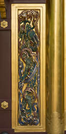 ornament temple shrine japan panel relief gold gilded