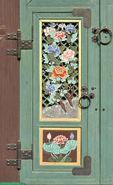 south korea ornament temple ornate mural painting door window shutter wood medieval asia asian panel