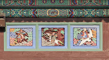 south korea ornament temple ornate mural painting relief wood carved asian asia panel