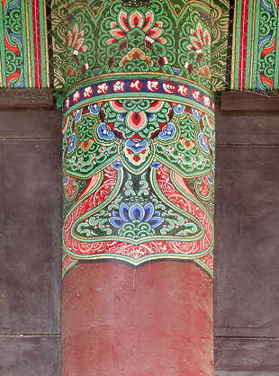 south korea ornament temple ornate mural painting asian asia pillar