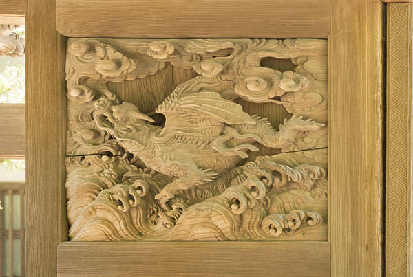 japan ornament ornate panel relief carving wood dragon wooden