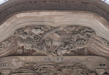 ornament temple shrine japan beam carving carved relief panel wooden