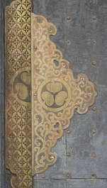 ornament gilded gold bronze brass temple shrine panel engraved engraving door corner japan