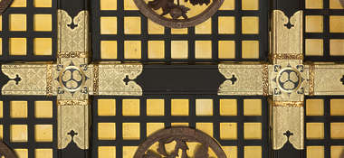 ornament gilded gold trim detail detailed engraved engraving ornate oriental japan temple shrine roof beam ceiling ornate