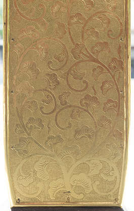 ornament ornaments japan gold gilded shield pattern engraved engraving leaves leaf oriental asia shrine