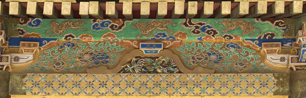 ornament ornate painted trim temple shrine japan gold gilded mural