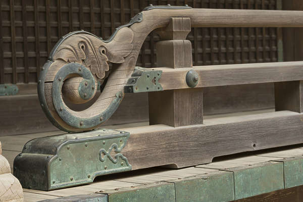 ornament temple shrine japan railing ornate wood