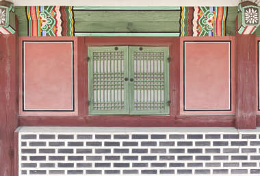 south korea temple buddhist brick ornate facade building window shutter shutters windows old