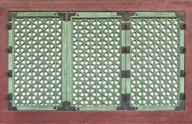south korea temple buddhist ornate window shutter shutters windows old