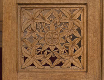 ornament wood carved panel church flowers carving decor decoration