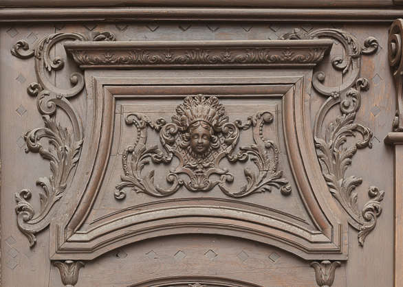ornate sculpture panel wooden wood face