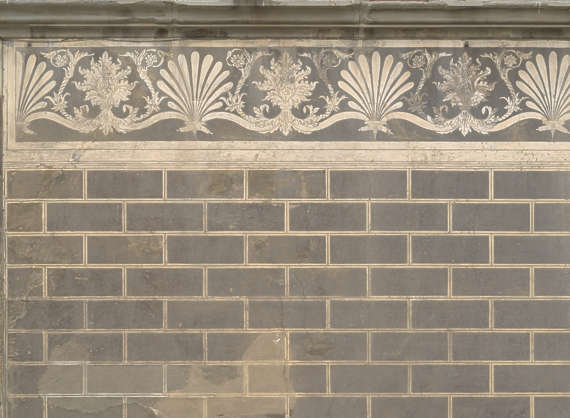 plaster bricks brick facade ornate old mural