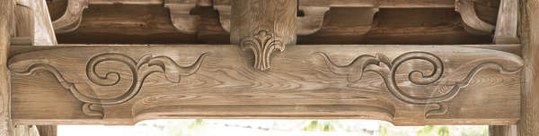 wood beam ornate ornament carved carving temple shrine japan
