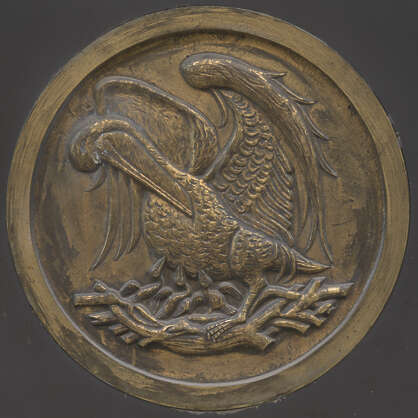 ornament circle pelican brass round relied