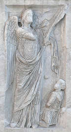 ornament border stone relief greek angel