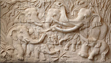 ornament relief thai thailand elephant elephants