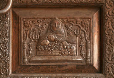 india ornament relief ornate panel metal copper