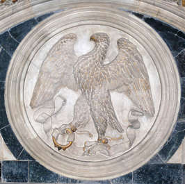ornament relief eagle round seal marble