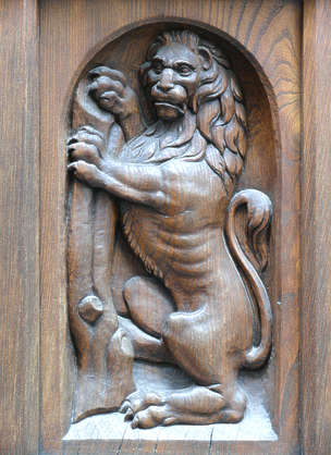 ornament panel lion carving