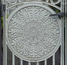 ornament round fence metal japan shield