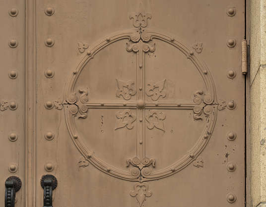 ornament metal circle round door japan