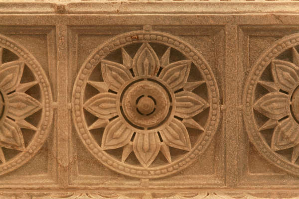 india ornament panel ornate carving round circle