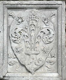 ornament shield panel stone carving
