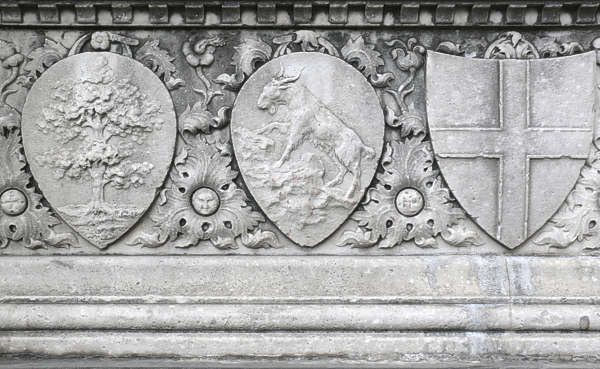 ornament shield panel stone carving lion