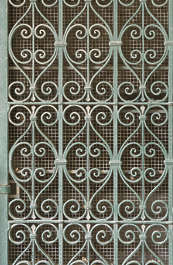 metal wrought iron fence ornate ornament curls curl