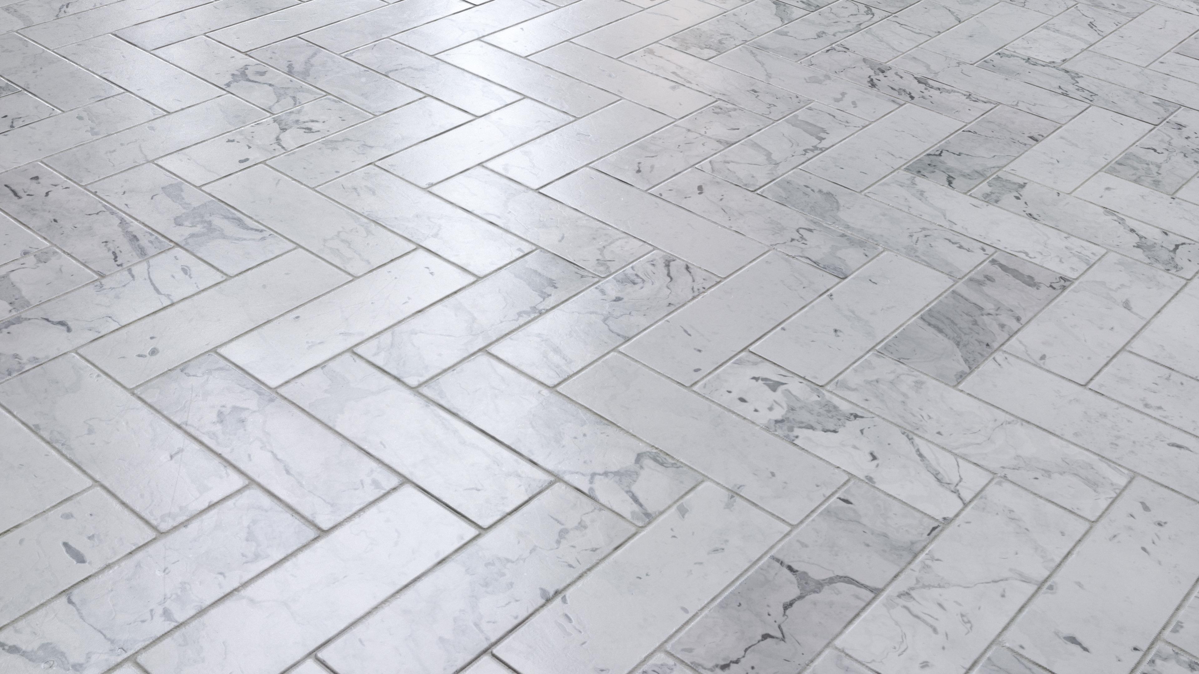 Marble Herringbone Tile Floor Pbr0007