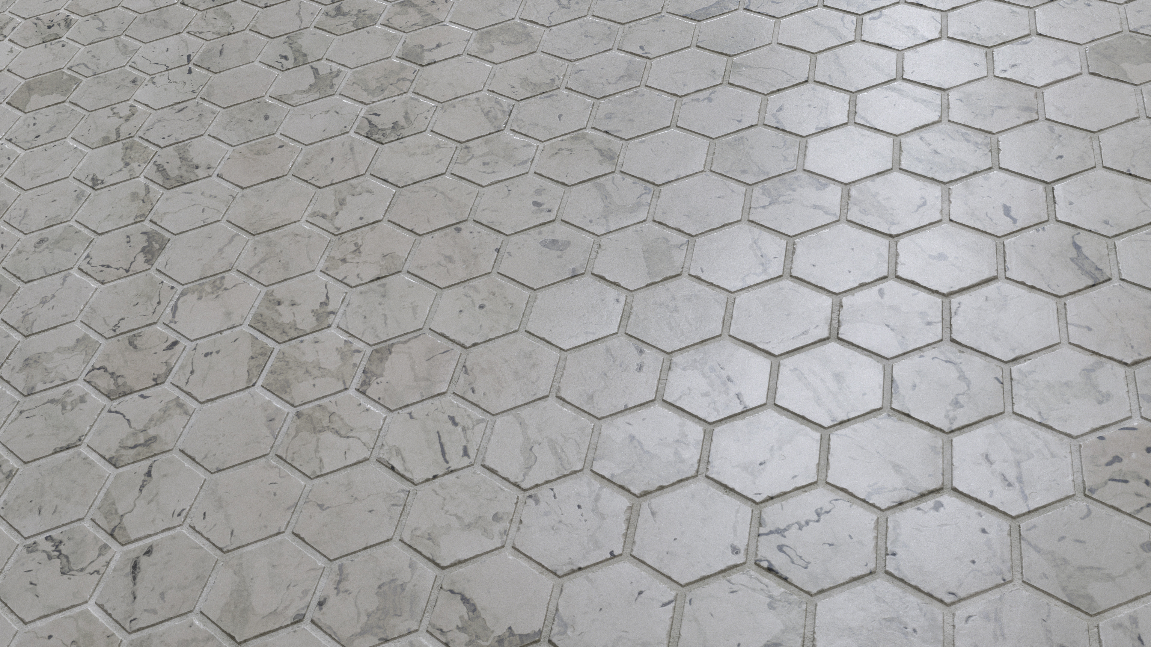 Marble Hexagon Tile Floor Pbr0008