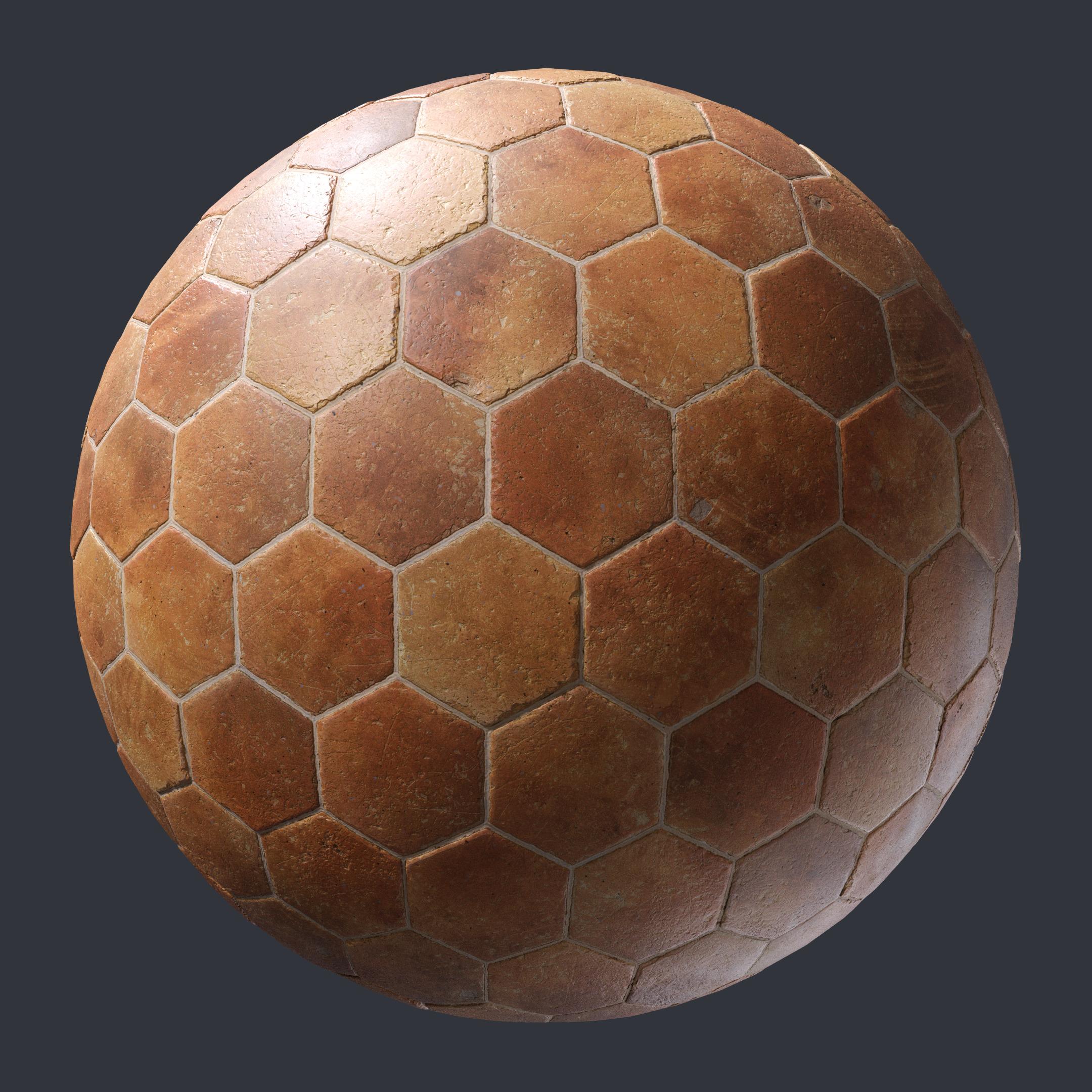 Hexagonal Terracotta Floor Tiles - PBR00191