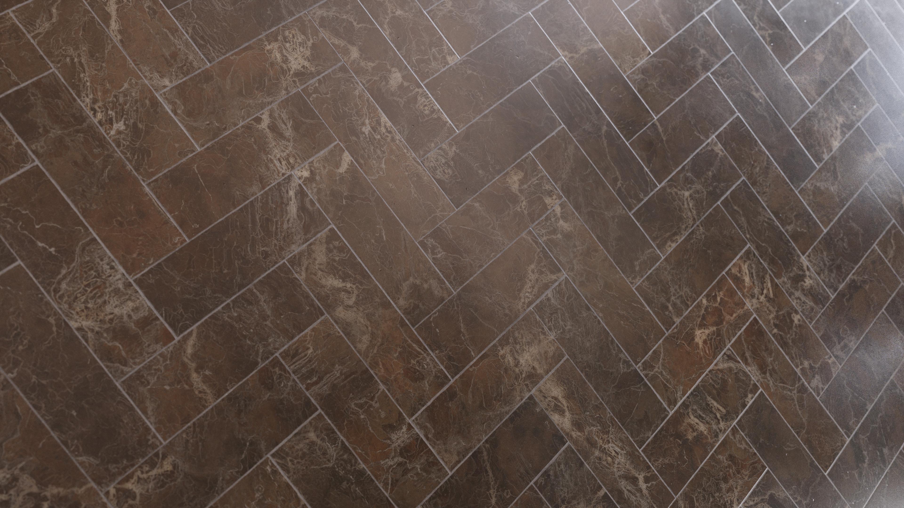 Brown Marble Herringbone Tiles Pbr0444