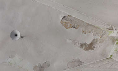 plaster ceiling stained old weathered