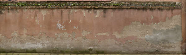 plaster wall old worn brick venice italy