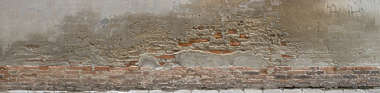 plaster old worn brick bare damaged venice italy
