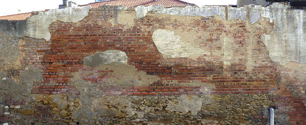 brick small plaster damaged old wall