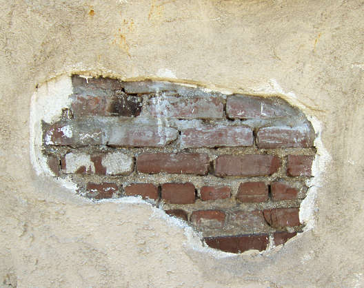 brick bricks plaster damaged hole
